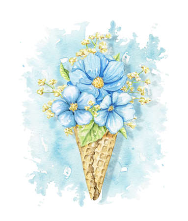Bouquet with blue flowers and foliage in waffle cone on blue stain background. Watercolor hand drawn illustration