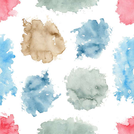 Seamless pattern with various watercolor stains isolated on white background. Hand drawn illustration 版權商用圖片