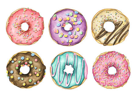 Set with various multicolor round donuts with glaze and colorful topping isolated on white background. Watercolor hand drawn illustration