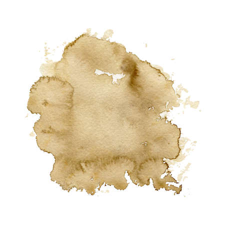 One beige watercolor stain isolated on white background. Watercolor hand drawn illustration