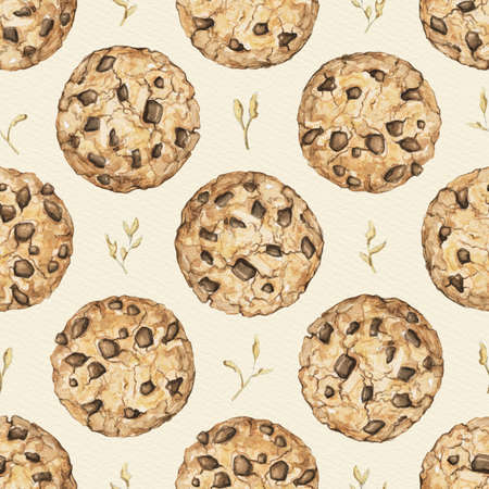 Seamless pattern with home made round chocolate chip cookies on beige background. Watercolor hand drawn illustration