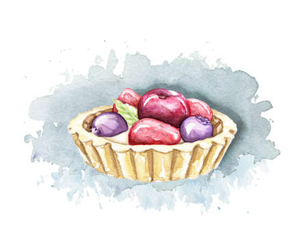 Cake with blueberry, strawberry and cherry on blue spot shadow. Watercolor hand drawn illustration 版權商用圖片