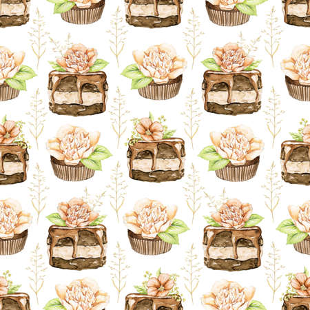 Seamless pattern with chocolate cakes brownie with flowers and twigs isolated on white background. Watercolor hand drawn illustration 版權商用圖片