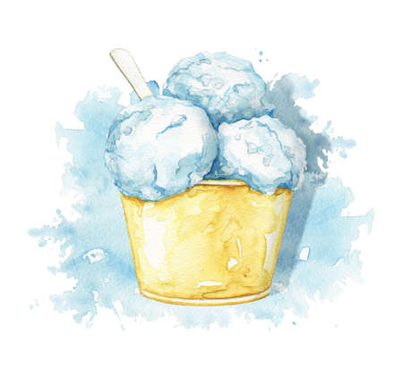 Blue ice cream in yellow cup with spoon isolated on blue stain background. Watercolor hand drawn illustration