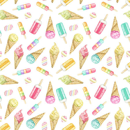 Seamless pattern with varied multicolor ice cream in waffle cone and on stick isolated on white background. Watercolor hand drawn illustration 版權商用圖片
