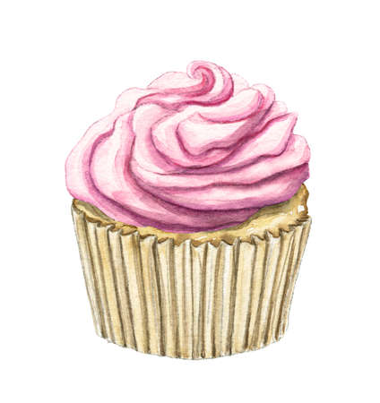 Muffin with pink cream isolated on white background. Watercolor hand drawn illustration 版權商用圖片