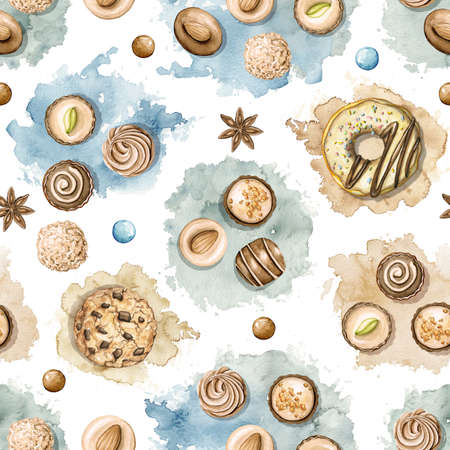 Seamless pattern with various sweets isolated on white background. Watercolor hand drawn illustration
