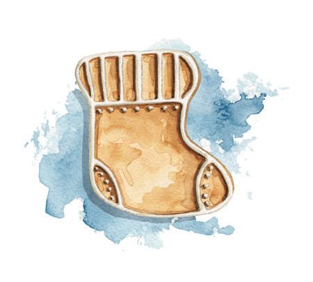 Christmas sock gingerbread cookie on blue stain background. Watercolor hand drawn illustration 版權商用圖片 - 152941963