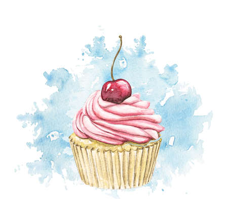 Muffin with pink cream and berry cherry on blue stain background. Watercolor hand drawn illustration