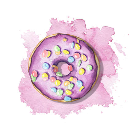 One round donut with violet glaze and colorful topping on jam stain background. Watercolor hand drawn illustration 版權商用圖片 - 152931646