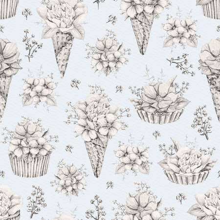 Seamless pattern with vintage monochrome bouquets with flowers in waffle cones and cupcakes on blue paper background. Watercolor hand drawn illustration