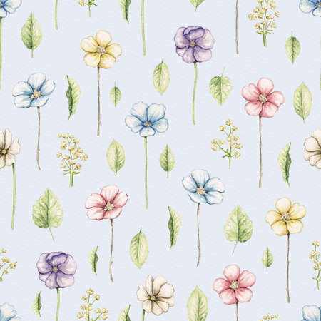 Seamless pattern with vintage chubby violet flowers and leaves isolated on blue background. Watercolor hand drawn illustration 版權商用圖片 - 152931649