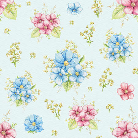 Seamless pattern with vintage greenery, blue and pink flowers on blue background. Watercolor hand drawn illustration 版權商用圖片 - 152931650