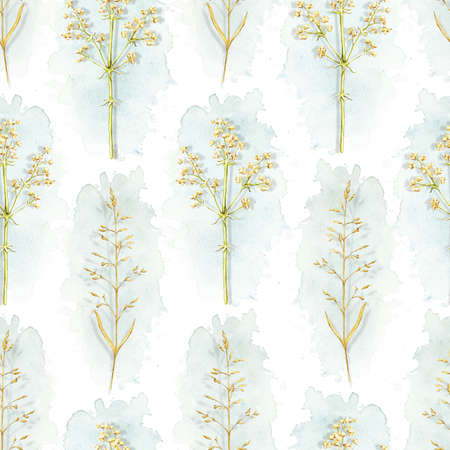 Seamless pattern with vintage graceful dry herbs herbarium and blue stains isolated on white background. Watercolor hand drawn illustration 版權商用圖片 - 152931653