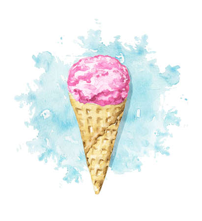 Pink ice cream in waffle cone on blue stain background. Watercolor hand drawn illustration 版權商用圖片