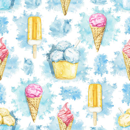 Seamless pattern with varied multicolor ice cream on blue stains background. Watercolor hand drawn illustration