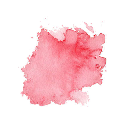 One red pink watercolor stain isolated on white background. Watercolor hand drawn illustration