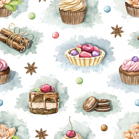 Seamless pattern with various cupcakes, cookies and sweets on white background. Watercolor hand drawn illustration 版權商用圖片 - 153223271