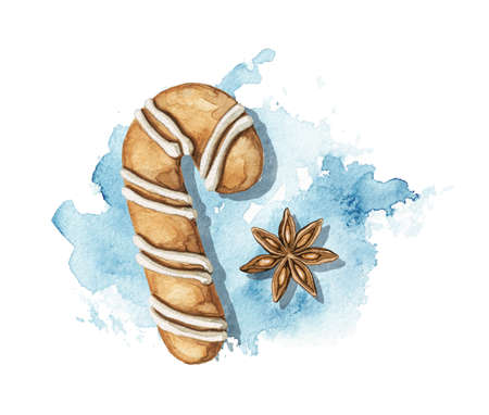 Christmas cane gingerbread cookie and star clove cinnamon on blue stain background. Watercolor hand drawn illustration 版權商用圖片 - 153223273