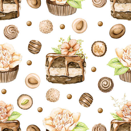Seamless pattern with chocolate cakes with flowers and candy on isolated white background. Watercolor hand drawn illustration 版權商用圖片 - 153223274
