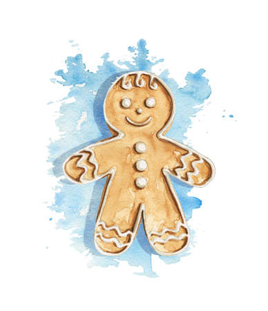 Christmas gingerbread men cookie on blue stain background. Watercolor hand drawn illustration 版權商用圖片 - 152890899