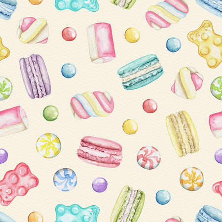 Seamless pattern with various bright sweets on beige background. Watercolor hand drawn illustration 版權商用圖片