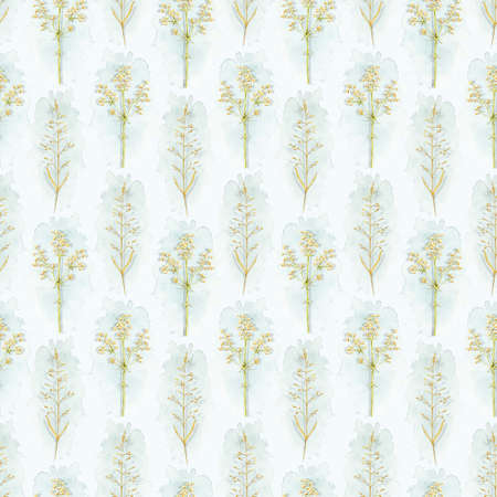 Seamless pattern with vintage graceful dry herbs herbarium and blue stains isolated on white background. Watercolor hand drawn illustration