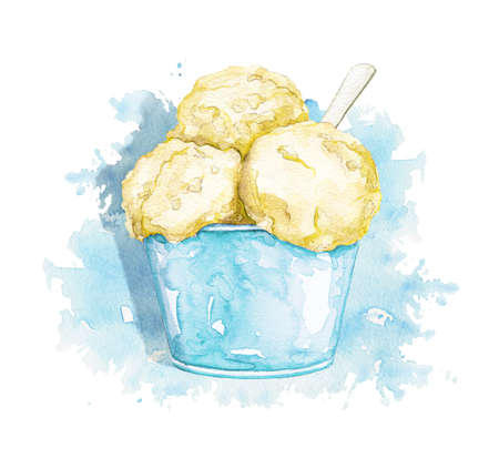 Blue ice cream in yellow cup with spoon isolated on blue stain background. Watercolor hand drawn illustration 版權商用圖片 - 153584266