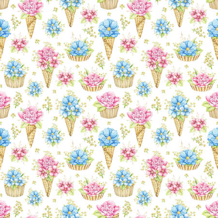 Seamless pattern with bouquets with pink and blue flowers in waffle cones and cupcakes isolated on white background. Watercolor hand drawn illustration