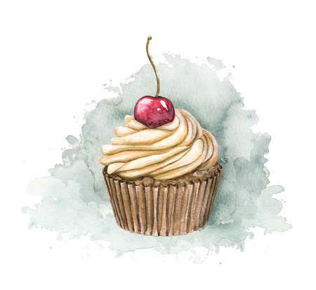 Muffin with beige cream and berry cherry on blue stain background. Watercolor hand drawn illustration