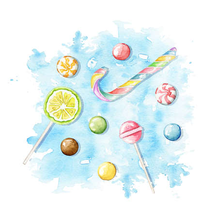 Set with multicolor candies, lollipops and sweets on blue stain background. Watercolor hand drawn illustration 版權商用圖片 - 153762985