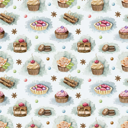 Seamless pattern with various cupcakes, cookies and sweets on white background. Watercolor hand drawn illustration