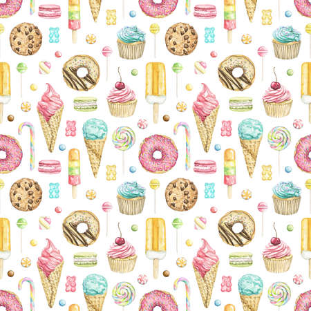 Seamless pattern with various bright sweets isolated on white background. Watercolor hand drawn illustration