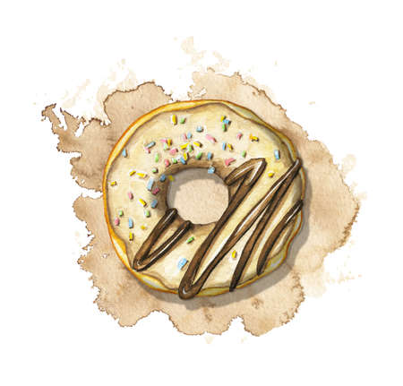 One round donut with chocolate glaze and colorful topping on beige stain background. Watercolor hand drawn illustration 版權商用圖片 - 153851876