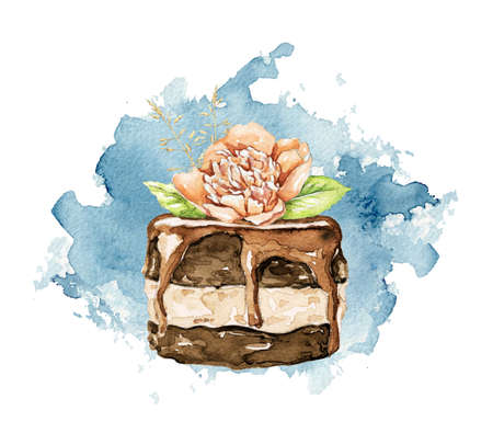 Chocolate cake brownie with floral bouquet composition on blue stain background. Watercolor hand drawn illustration