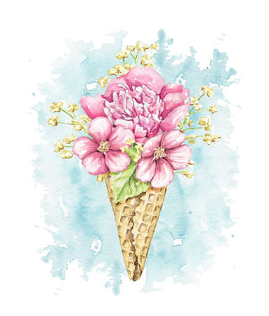 Bouquet with pink flowers and foliage in waffle cone on blue stain background. Watercolor hand drawn illustration