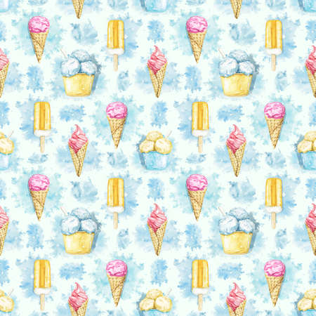 Seamless pattern with varied multicolor ice cream on blue stains background. Watercolor hand drawn illustration 版權商用圖片 - 153960424