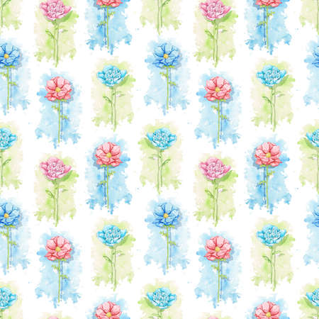 Seamless pattern with blue and red flowers on green stains background. Watercolor hand drawn illustration 版權商用圖片 - 153960425