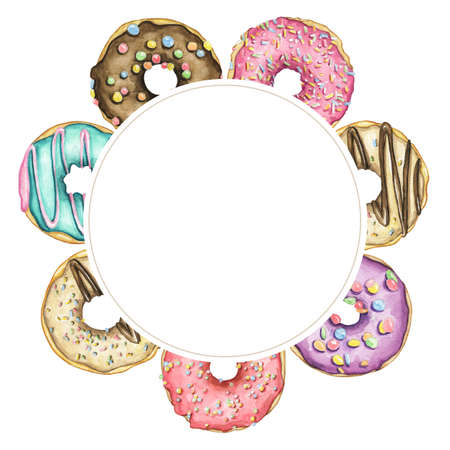 Border round frame with various multicolor round donuts with glaze and colorful topping isolated on white background. Watercolor hand drawn illustration