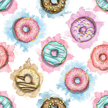 Seamless pattern with various multicolor round donuts with glaze and topping on colorful stains background. Watercolor hand drawn illustration 版權商用圖片