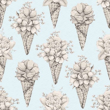 Seamless pattern with vintage monochrome bouquets with flowers in waffle cones on blue paper background. Watercolor hand drawn illustration 版權商用圖片 - 153960427
