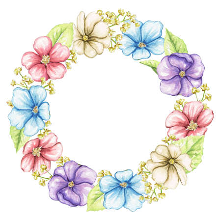 Round frame with vintage flowers, leaves and branches on white background. Watercolor hand drawn illustration 版權商用圖片 - 154115452