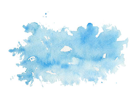 One light blue watercolor stain isolated on white background. Watercolor hand drawn illustration 版權商用圖片 - 154115426