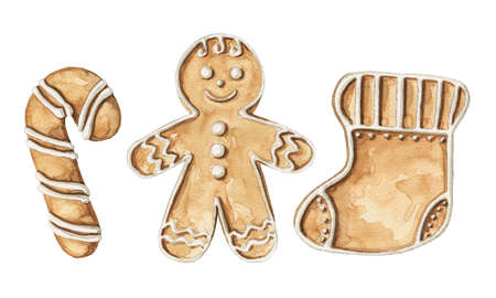 Set with various gingerbread cookies isolated on white background. Watercolor hand drawn illustration