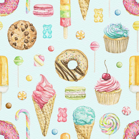 Seamless pattern with various bright sweets on blue background. Watercolor hand drawn illustration 版權商用圖片
