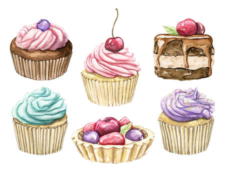 Set with various multicolor cupcakes and muffins isolated on white background. Watercolor hand drawn illustration 版權商用圖片 - 154115385