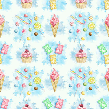 Seamless pattern with multicolor sweets on blue stain background. Watercolor hand drawn illustration