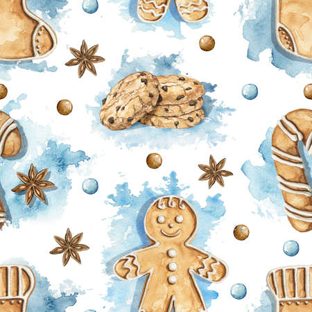 Seamless pattern with various gingerbread cookies on blue stains background. Watercolor hand drawn illustration 版權商用圖片