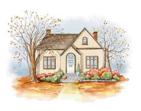 Autumn landscape with country house, lawn and trees isolated on white background. Watercolor hand drawn illustration 版權商用圖片