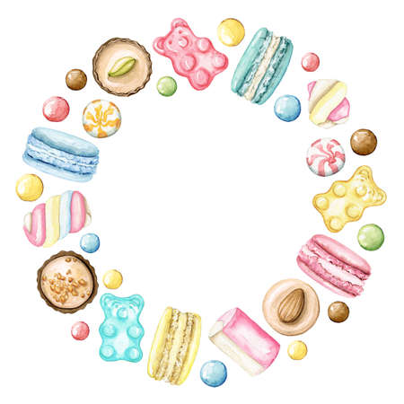 Border round frame multicolor various sweets isolated on white background. Watercolor hand drawn illustration 版權商用圖片